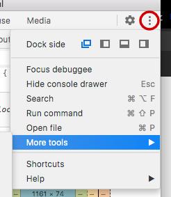 Chrome dev tools more settings