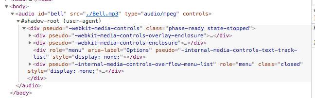 chrome shadow DOM with audio element