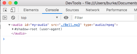 Viewing javascript console of audio element
