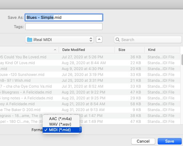 screen shot of saving MIDI file